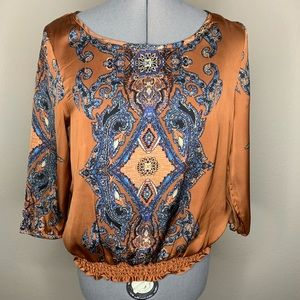 Paisley Pattern Artificial Silk Shirt